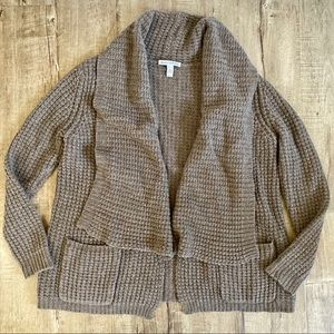 Autumn Cashmere Chunky Cardigan Sweater Brown L